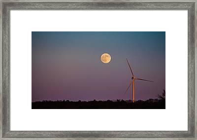 Moon Over Wind Generator Framed Print