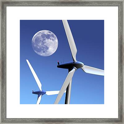 Moon Over Wind Turbines Framed Print by Detlev Van Ravenswaay