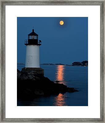 Moon Over Winter Island Salem Ma Framed Print