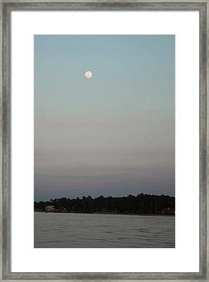 Framed Print featuring the photograph Moon Over Lake  by Ellen O'Reilly