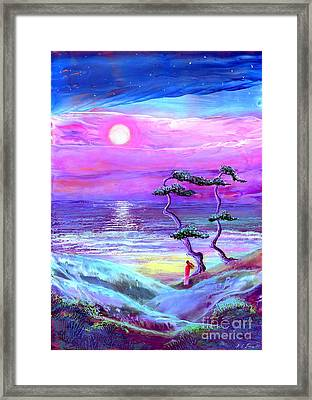 Moon Pathway,seascape Framed Print by Jane Small