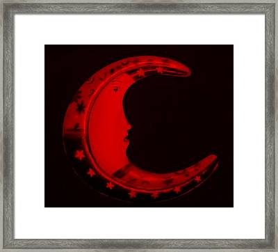 Moon Phase In Blood Red Framed Print by Rob Hans