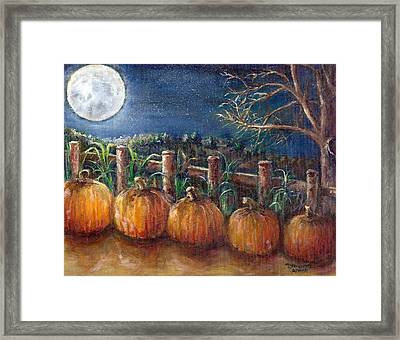 Moon Pumpkin Harvest Framed Print by Bernadette Krupa