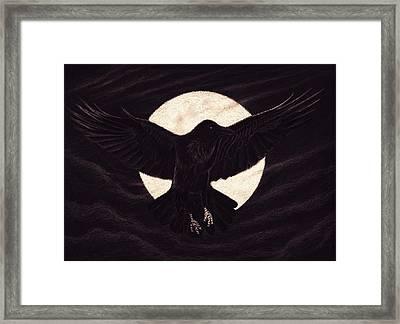 Moon Raven Framed Print