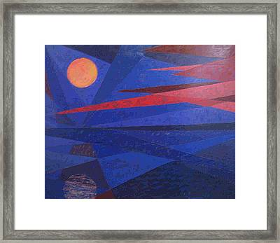 Moon Reflecting On A Lake Framed Print