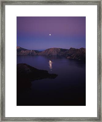 Moon Reflection In The Crater Lake Framed Print