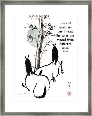 Framed Print featuring the painting Moon Reverence With Lao Tzu Quote I by Bill Searle