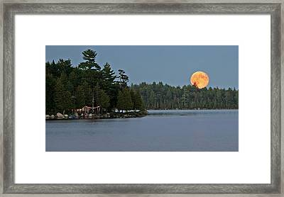 Framed Print featuring the photograph Moon Rise At The Lake by Barbara West