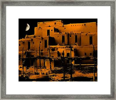 Moon Rise At The Pueblo Framed Print