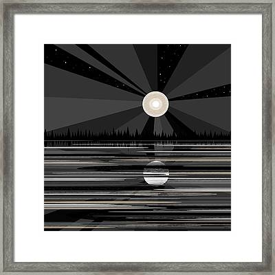 Moon Rise - Black And White Framed Print