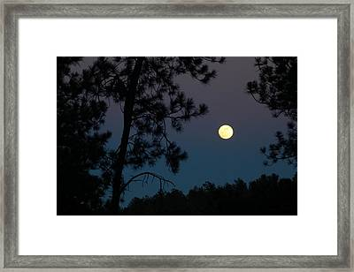 Moon Rise In Twilight Framed Print