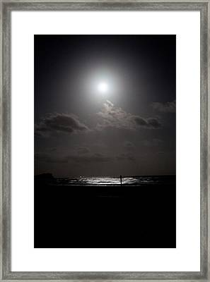 Moon Rise Over Ocean Framed Print