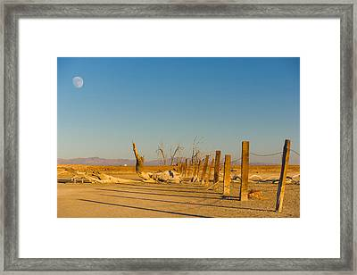 Moon Rise Over Waste Land Framed Print by Scott Campbell