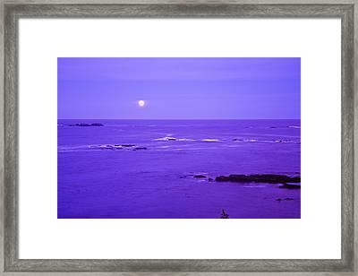 Moon Rises Over Monashka Bay At Ft Framed Print