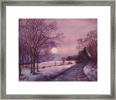 Framed Print featuring the painting Moon Rising by Joy Nichols