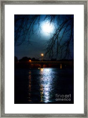 Framed Print featuring the photograph Moon Set Lake Pleasurehouse by Angela DeFrias