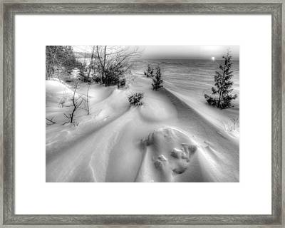 Moon Set On The Bay Framed Print by Jeffrey Ewig