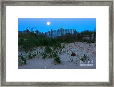 Moon Setting At Beach Plum Island Framed Print by Robert Pilkington