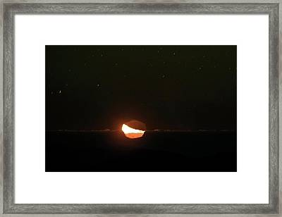Moon Setting Behind An Inversion Layer Framed Print