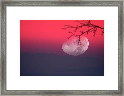 Moon Setting Behind Mountains Framed Print