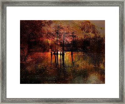 Moon Setting Over Reelfoot Lake Framed Print