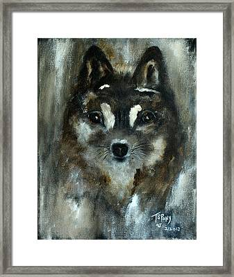 Framed Print featuring the painting Moon Shadow The Baby Fox by Barbie Batson