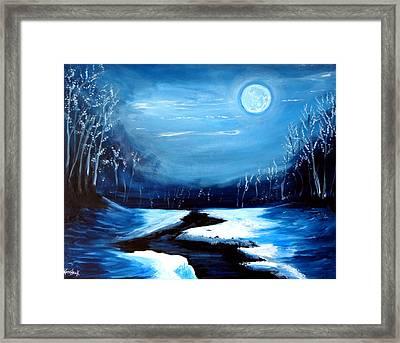 Moon Snow Trees River Winter Framed Print