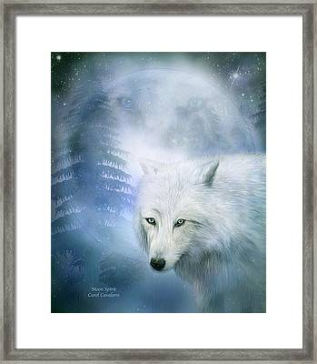 Moon Spirit 1-white Wolf - Blue  Framed Print