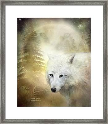 Moon Spirit 1 - White Wolf - Golden Framed Print