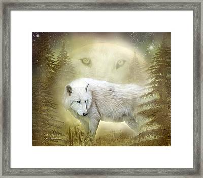 Moon Spirit 2 - White Wolf - Golden Framed Print