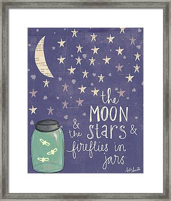 Moon Stars Fireflies Framed Print