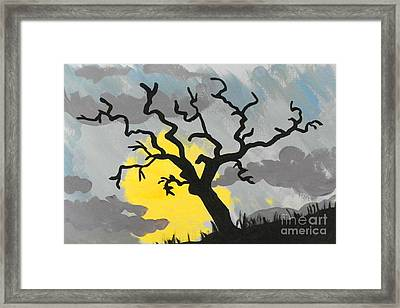 Framed Print featuring the painting Moon Tree by Marisela Mungia