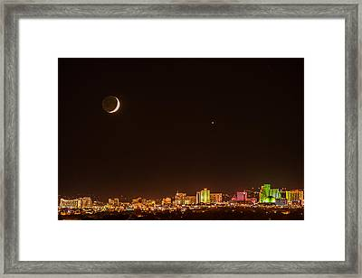 Moon-venus Over Reno Framed Print by Janis Knight