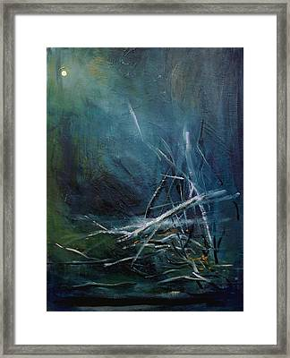 Moon When Limbs Of Trees Are Broken By Snow  January Framed Print