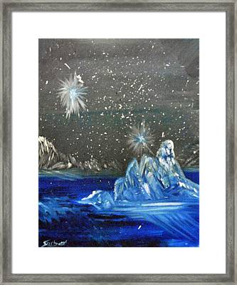 Moon With A Blue Dress Framed Print by Suzanne Surber