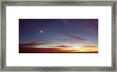 Moon With Jupiter And Venus Framed Print by Luis Argerich