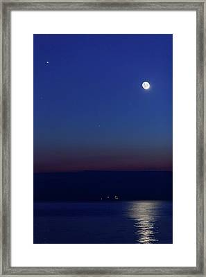 Moon With Jupiter Framed Print by Luis Argerich
