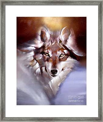 Moon Wolf Framed Print