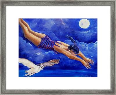 Moonbather  Framed Print by Trudi Doyle