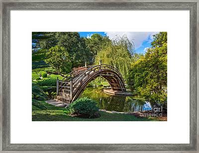 Moonbridge - The Beautifully Renovated Japanese Gardens At The Huntington Library. Framed Print