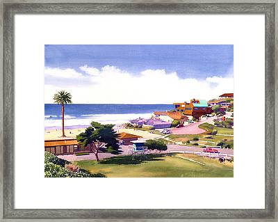 Moonlight Beach And Cypress Framed Print by Mary Helmreich