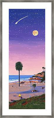 Moonlight Beach At Dusk Framed Print by Mary Helmreich