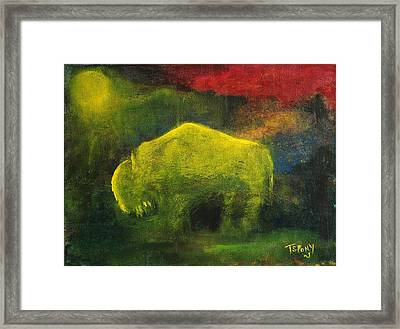 Moonlight Buffalo Framed Print