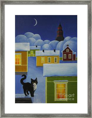 Moonlight Cat Framed Print