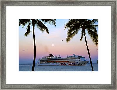 Moonlight Cruise In Paradise Framed Print by Kevin Smith