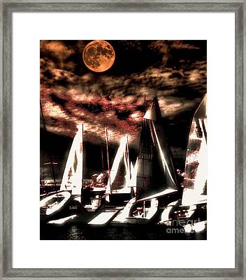 Framed Print featuring the tapestry - textile Moonlight Cruise by Robert McCubbin