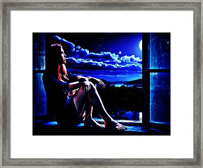 Framed Print featuring the digital art Moonlight Girl by Persephone Artworks