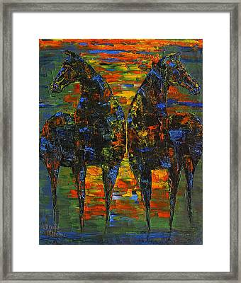 Moonlight Horses Framed Print