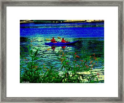 Moonlight Kayak Ride Along The Coastline Of The Lachine Canal Quebec Sea Scenes Carole Spandau Framed Print by Carole Spandau