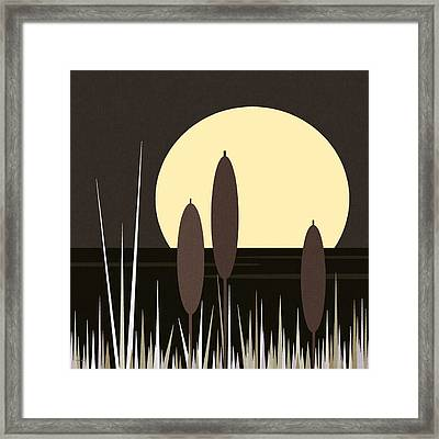 Moonlight On Loon Lake Framed Print